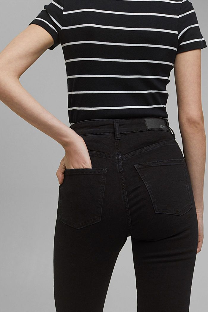 Super stretch jeans with organic cotton, BLACK DARK WASHED, detail image number 5