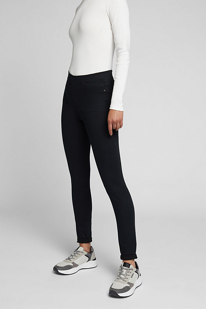 Treggings with an elasticated waistband, BLACK, detail image number 0