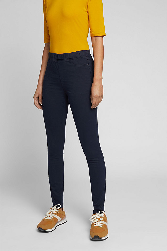 Treggings with an elasticated waistband, NAVY, detail image number 0