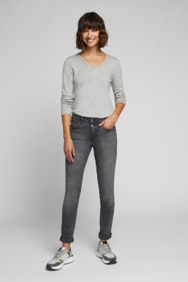 Two-button jeans with organic cotton, BLACK MEDIUM WASH, detail