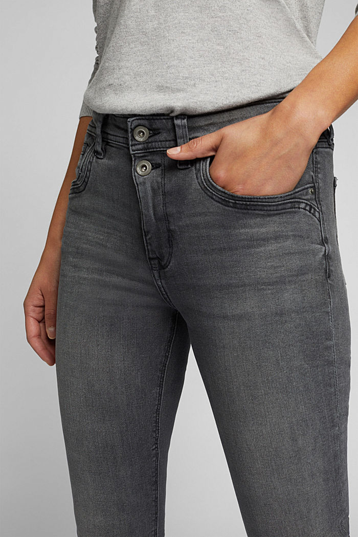 Two-button jeans with organic cotton, BLACK MEDIUM WASHED, detail image number 2