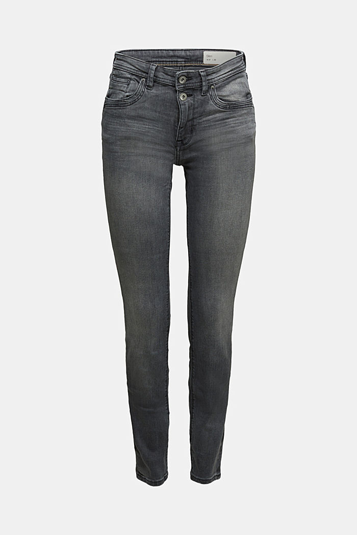 Two-button jeans with organic cotton, BLACK MEDIUM WASHED, detail image number 6