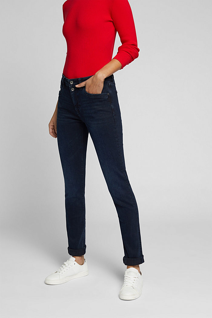 Two-button jeans with organic cotton, BLUE BLACK, detail image number 0