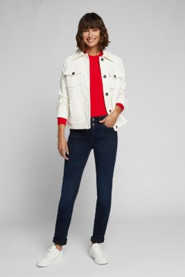 Two-button jeans with organic cotton, BLUE BLACK, detail