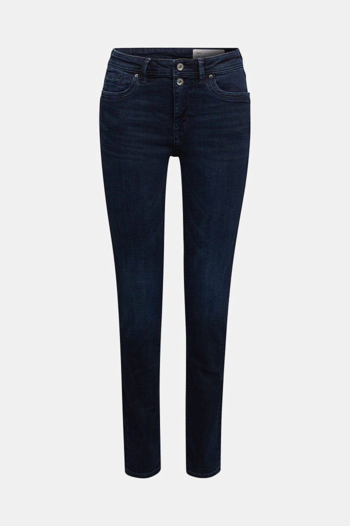 Jeans a 2 bottoni con cotone biologico, BLUE BLACK, overview