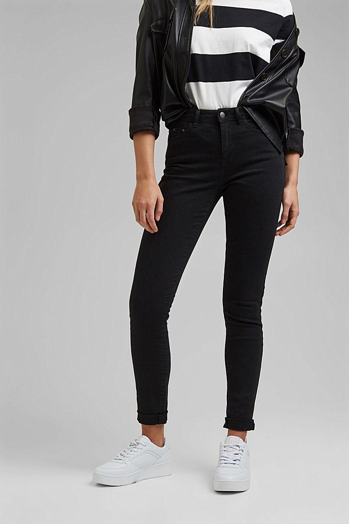 Pantalon stretch à teneur en coton biologique, BLACK, detail image number 0