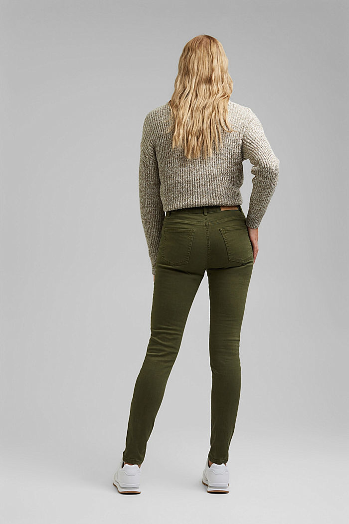 Stretch trousers with organic cotton, KHAKI GREEN, detail image number 3