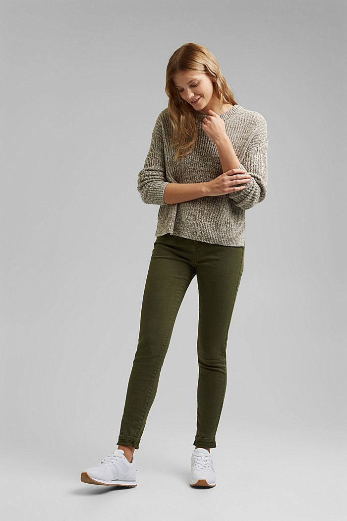 Stretch trousers with organic cotton, KHAKI GREEN, detail image number 1
