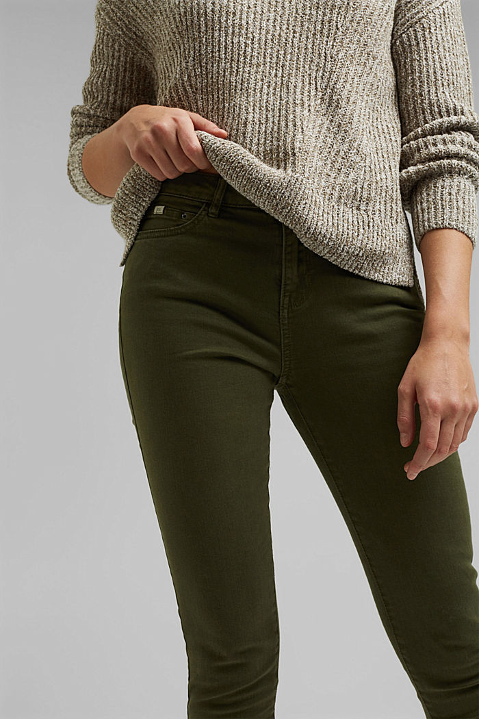 Stretch trousers with organic cotton, KHAKI GREEN, detail image number 2