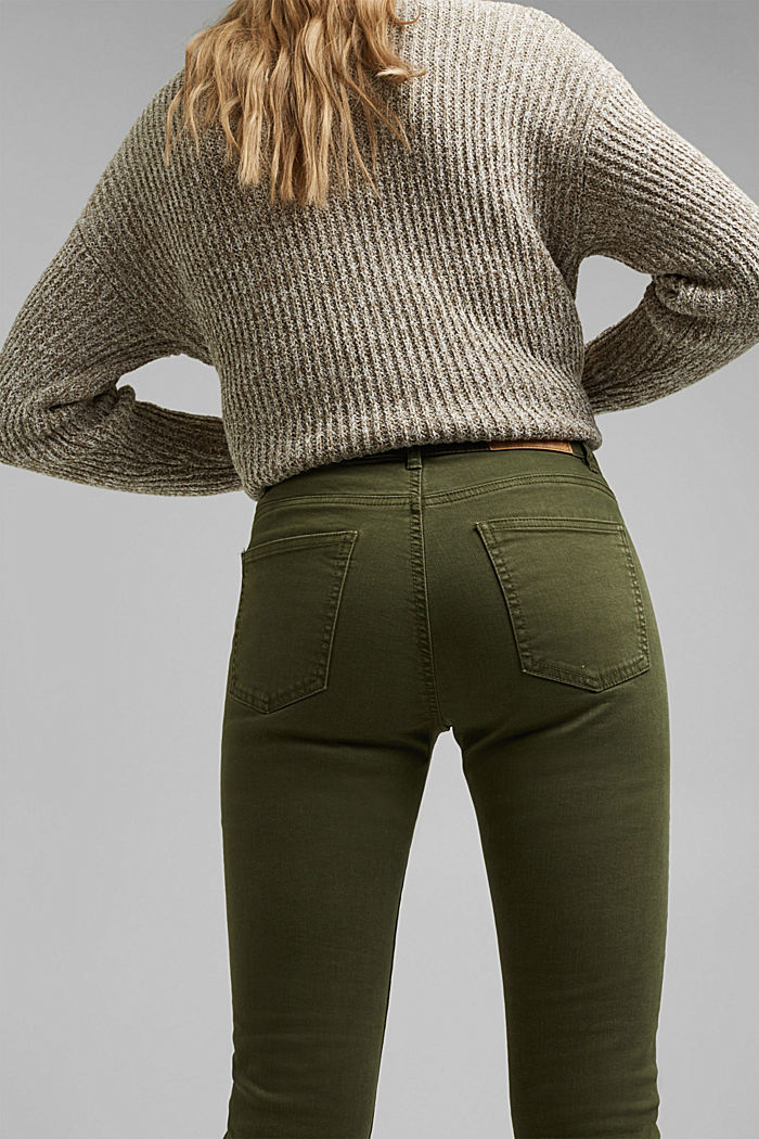 Stretch trousers with organic cotton, KHAKI GREEN, detail image number 5