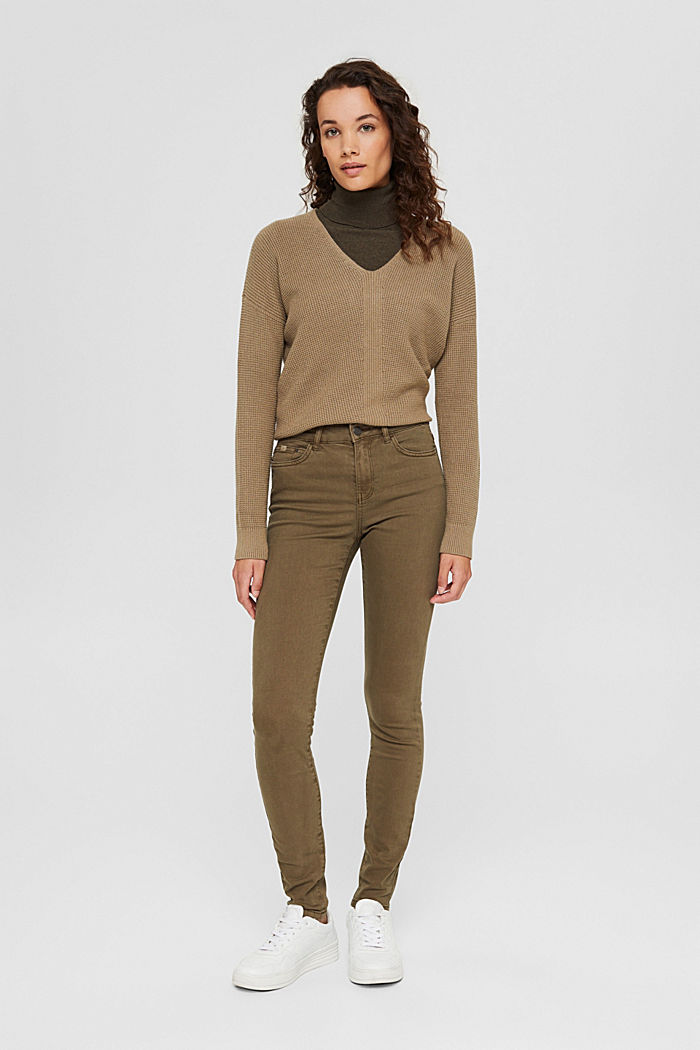 Stretch trousers with organic cotton, DARK KHAKI, detail image number 1