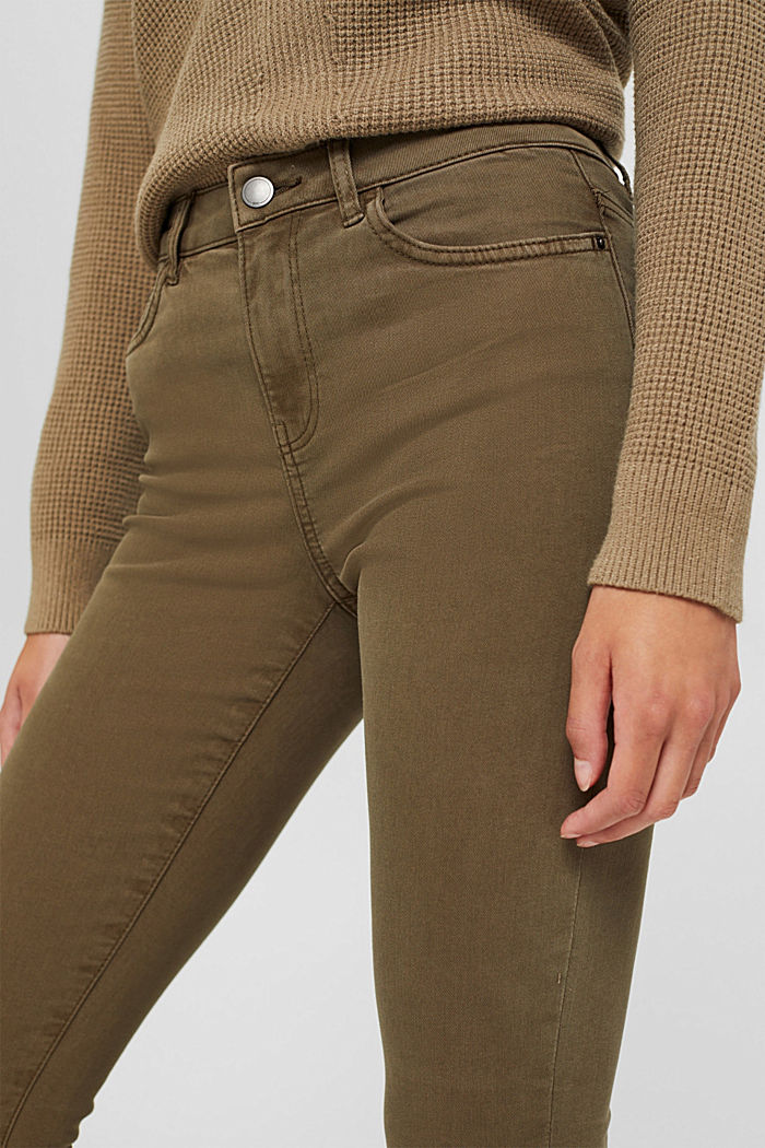 Stretch trousers with organic cotton, DARK KHAKI, detail image number 4