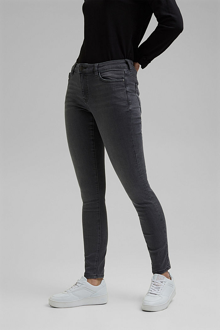 Stretch jeans with organic cotton, GREY MEDIUM WASHED, detail image number 0