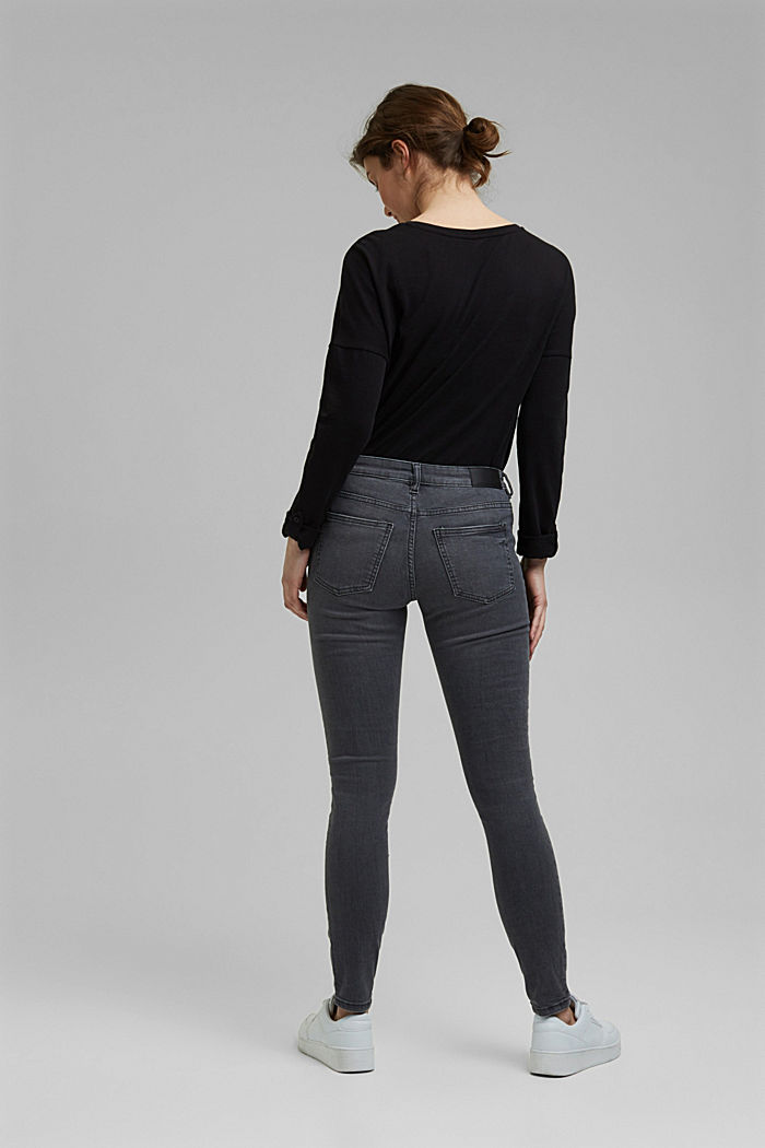 Stretch jeans with organic cotton, GREY MEDIUM WASHED, detail image number 3