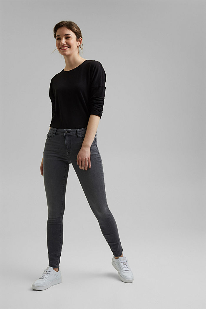 Stretch jeans with organic cotton, GREY MEDIUM WASHED, detail image number 1