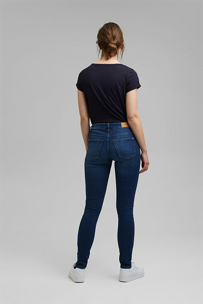 Stretch jeans with organic cotton, BLUE DARK WASHED, detail image number 3