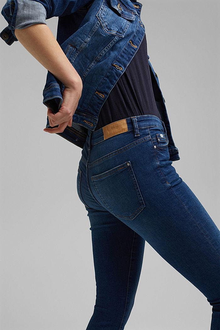 Jean stretch en coton biologique, BLUE DARK WASHED, detail image number 5