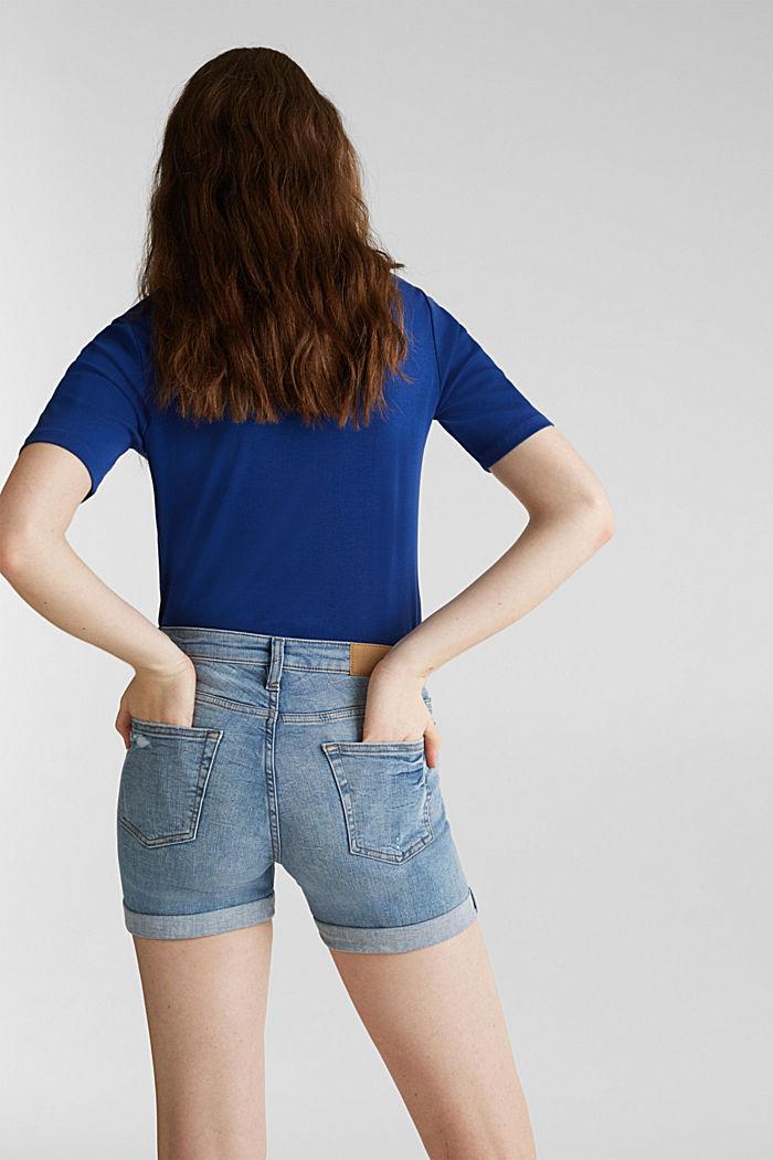 Jeans-Shorts mit Used-Effekten, BLUE LIGHT WASHED, detail image number 3