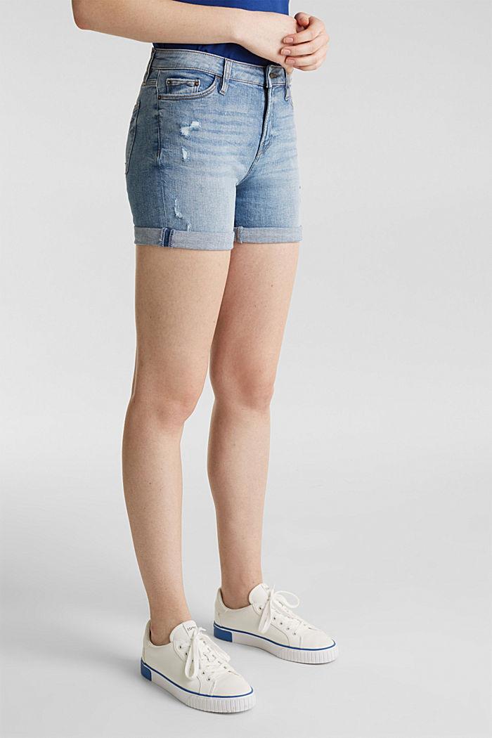 Denim shorts with vintage effects, BLUE LIGHT WASHED, detail image number 6