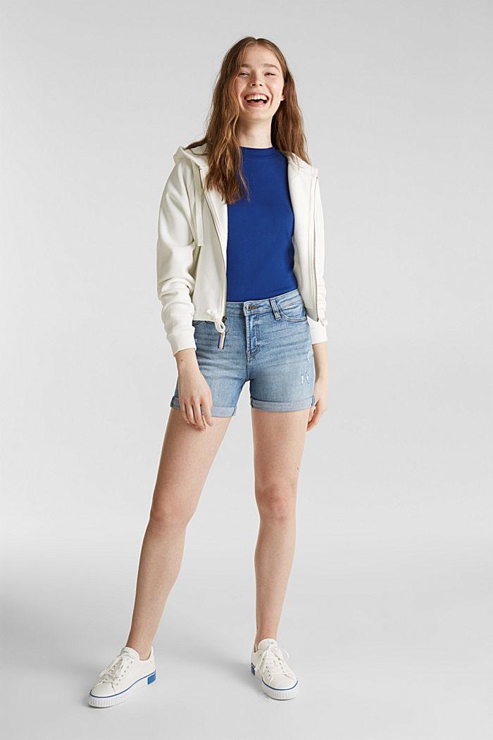 Denim shorts with vintage effects, BLUE LIGHT WASHED, detail image number 1