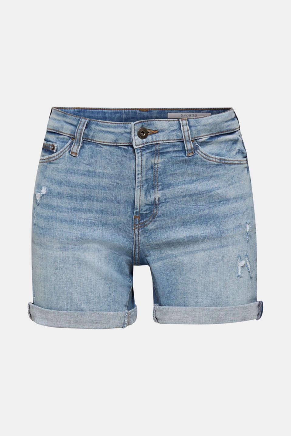 Denim shorts with vintage effects, BLUE LIGHT WASH, detail image number 7