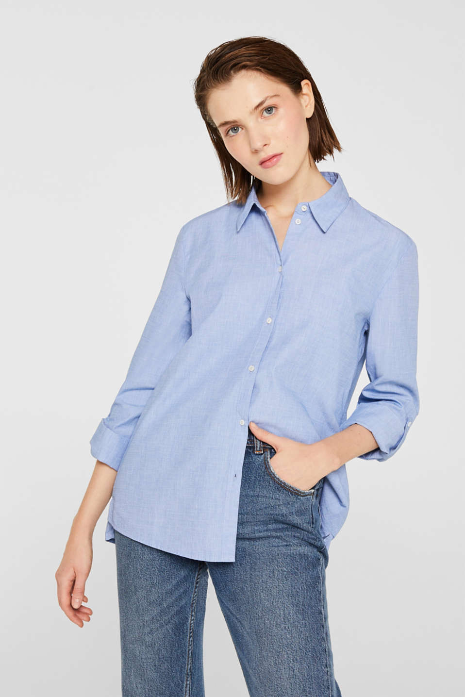 Shirt blouse made of chambray fabric, 100% cotton, LIGHT BLUE, detail image number 0