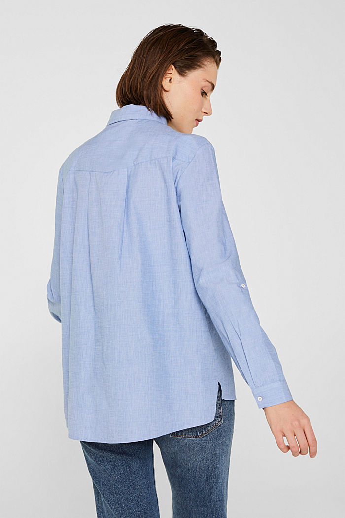 Chambray blouse made of 100% cotton, LIGHT BLUE, detail image number 3