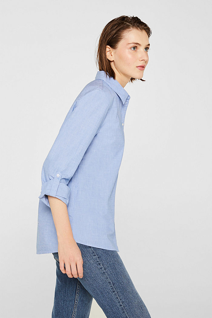 Chambray blouse made of 100% cotton, LIGHT BLUE, detail image number 5