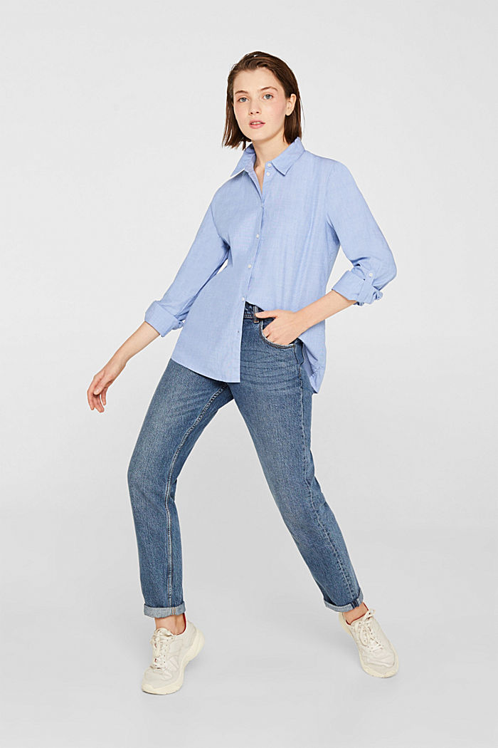 Chambray blouse made of 100% cotton, LIGHT BLUE, detail image number 6