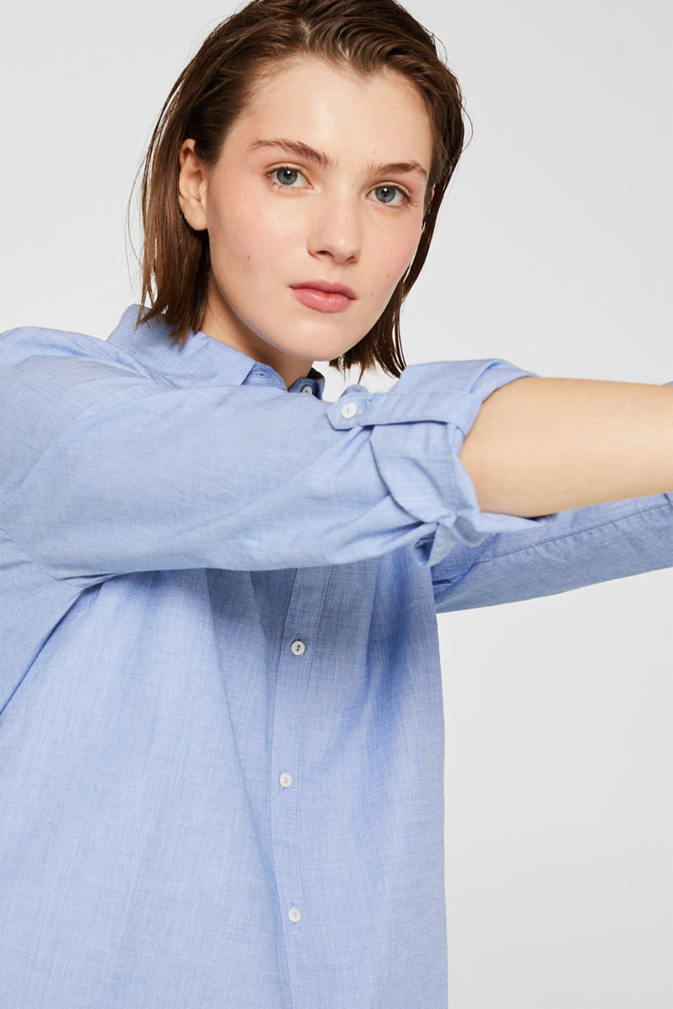 Shirt blouse made of chambray fabric, 100% cotton, LIGHT BLUE, detail image number 2
