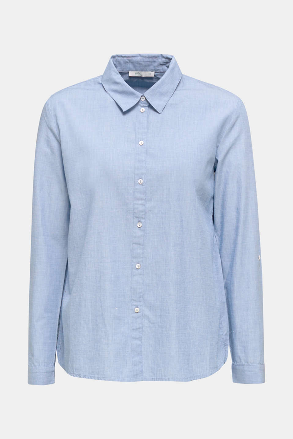 Shirt blouse made of chambray fabric, 100% cotton, LIGHT BLUE, detail image number 7