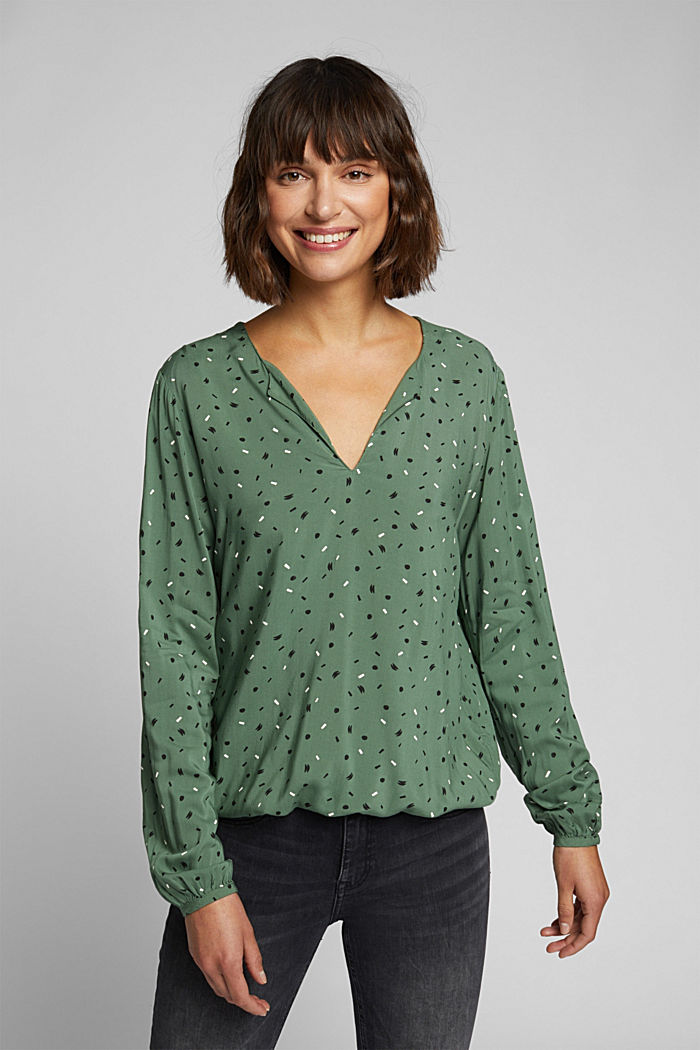 Blouse made from LENZING™ ECOVERO™, KHAKI GREEN, detail image number 0