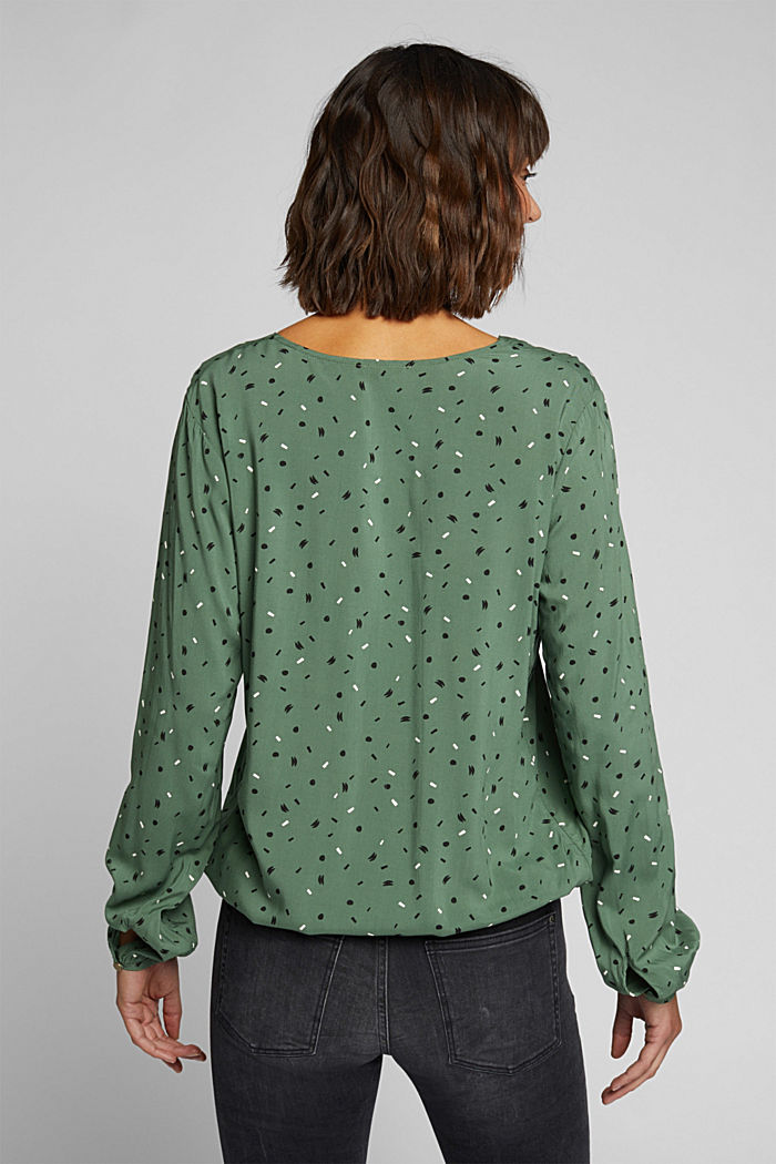 Blouse made from LENZING™ ECOVERO™, KHAKI GREEN, detail image number 3