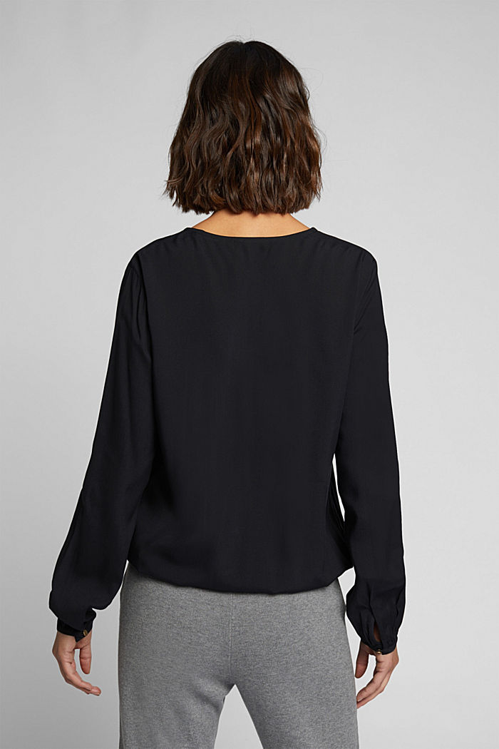 Blouse made from LENZING™ ECOVERO™, BLACK, detail image number 3