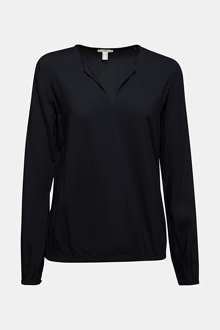 Blouse made from LENZING™ ECOVERO™, BLACK, detail image number 5