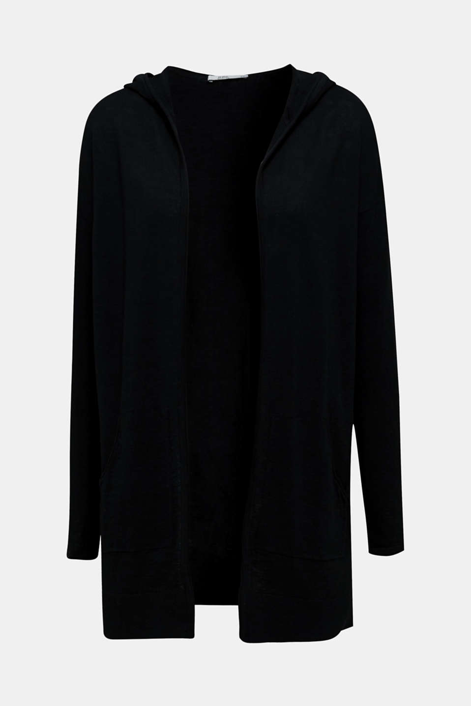 Lightweight cardigan with hood, 100% cotton, BLACK, detail image number 6