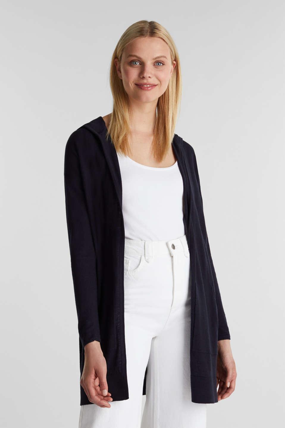 Cardigan, 100% cotton, NAVY, detail image number 0