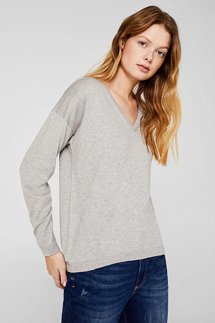 V-neck jumper, organic cotton, LIGHT GREY, detail image number 0