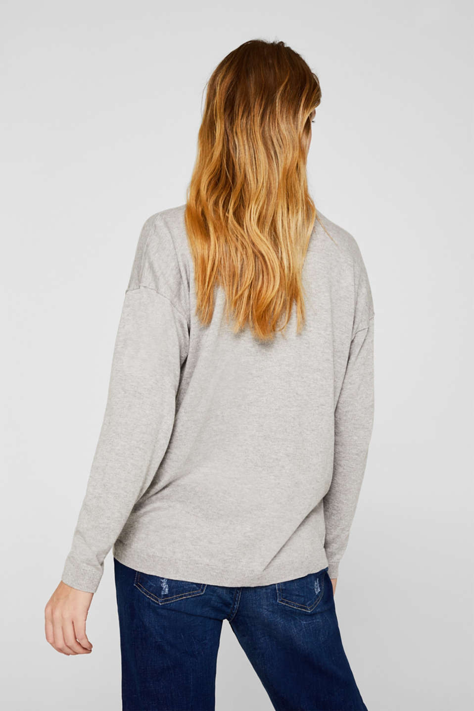 V-neck jumper containing organic cotton, LIGHT GREY 5, detail image number 3