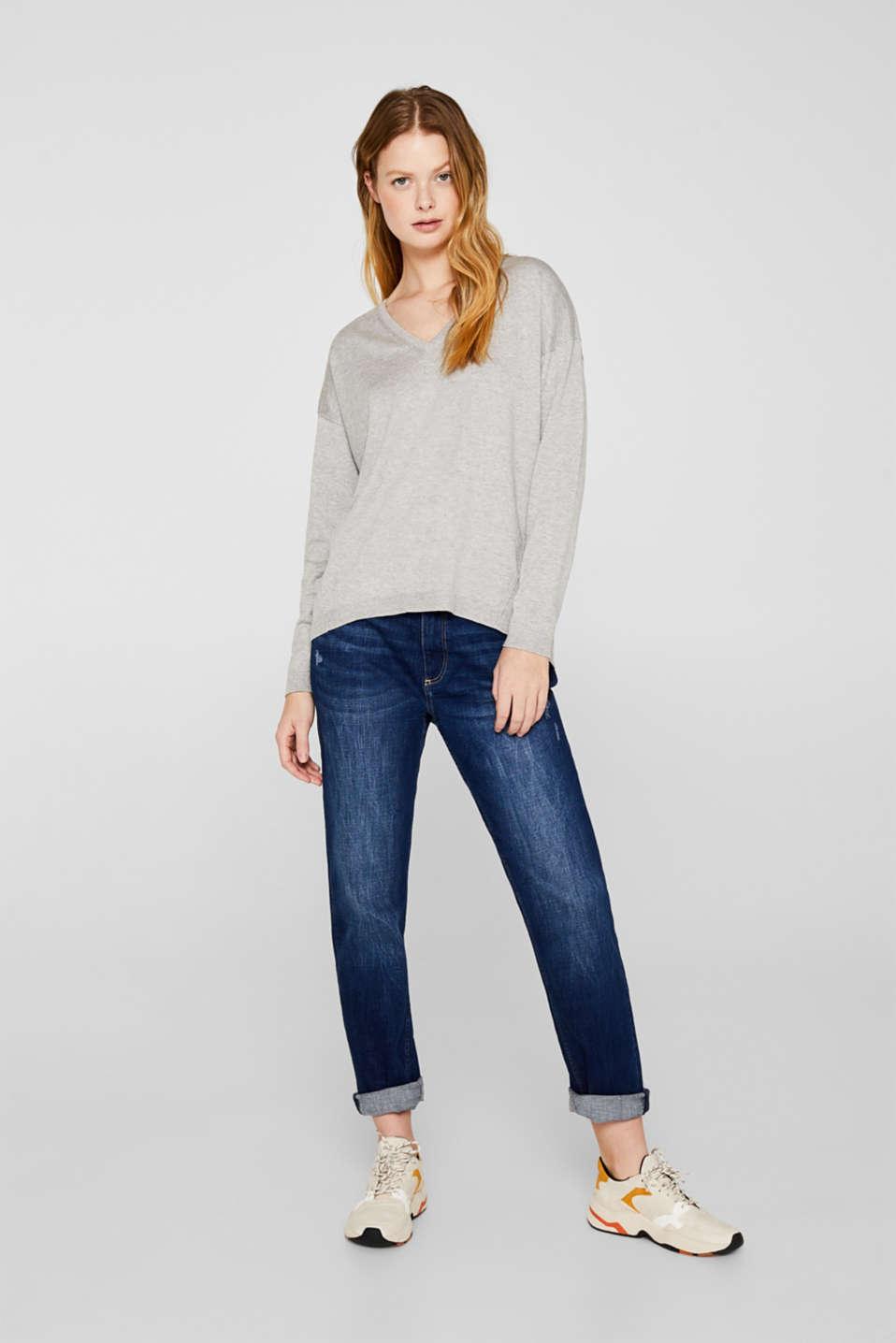 V-neck jumper, organic cotton, LIGHT GREY 5, detail image number 1