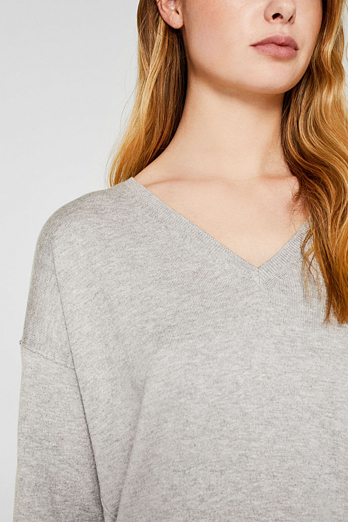 V-Pullover, Bio-Baumwolle, LIGHT GREY, detail image number 2
