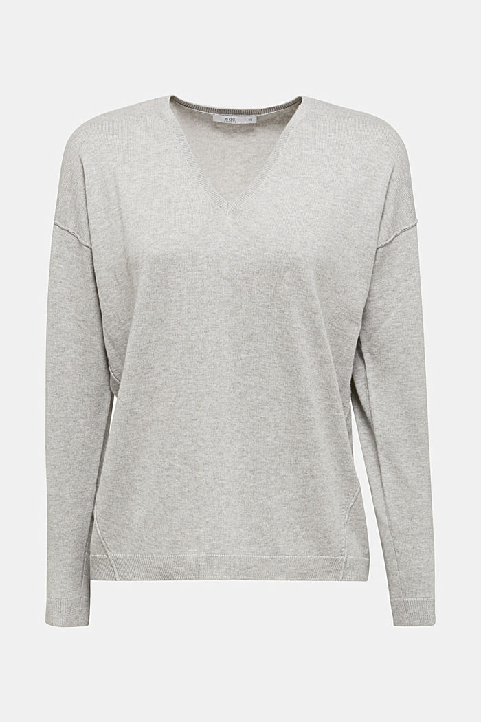 V-Pullover, Bio-Baumwolle, LIGHT GREY, detail image number 5