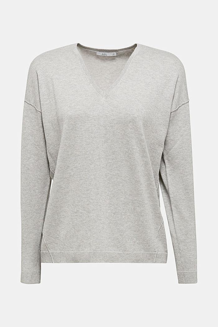 V-neck jumper, organic cotton, LIGHT GREY, detail image number 5