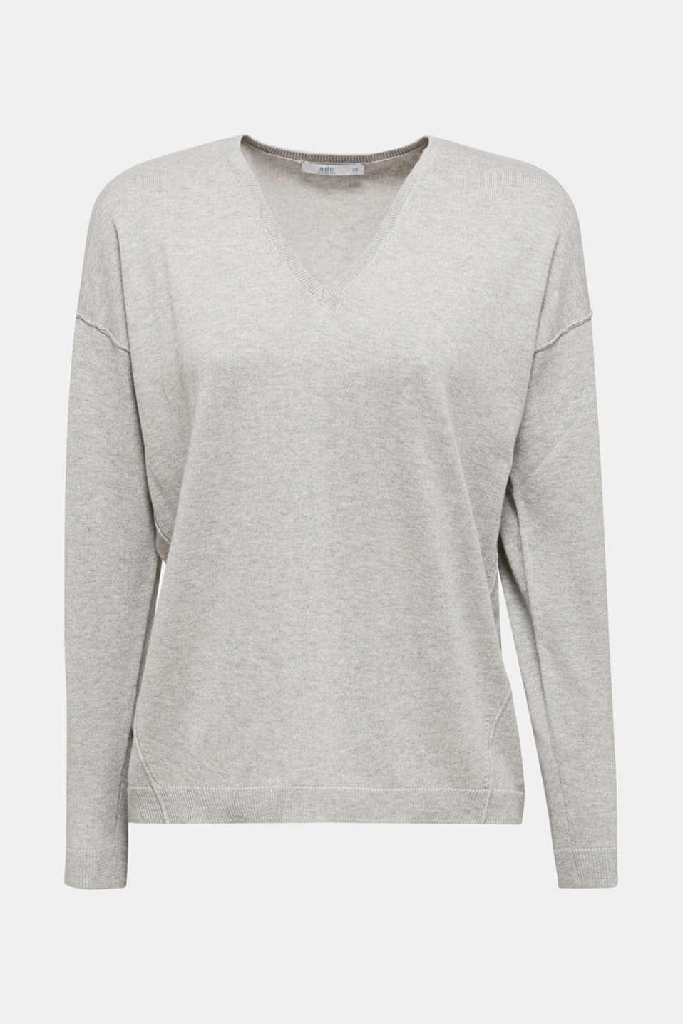 V-neck jumper containing organic cotton, LIGHT GREY 5, detail image number 5