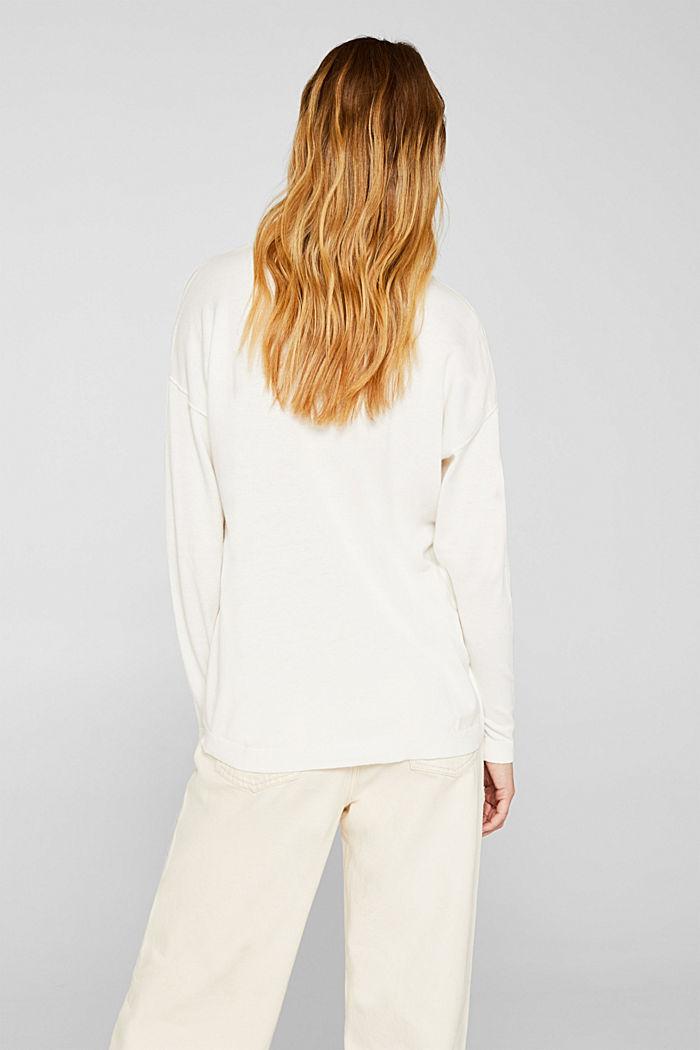 V-neck jumper, organic cotton, OFF WHITE, detail image number 3