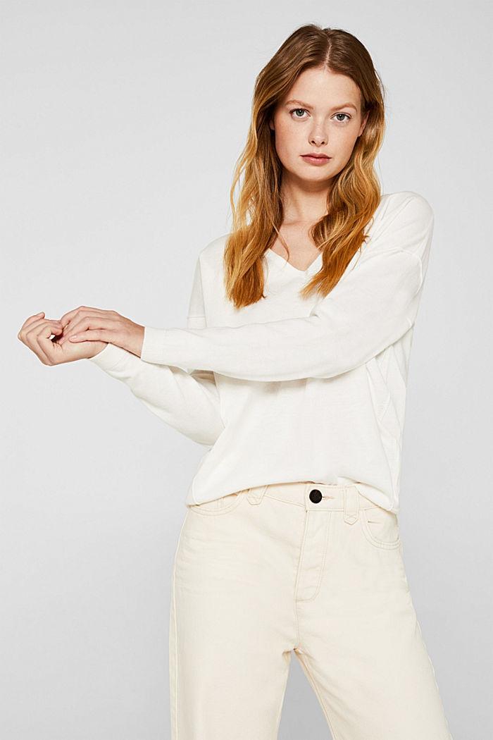 V-neck jumper, organic cotton, OFF WHITE, detail image number 5