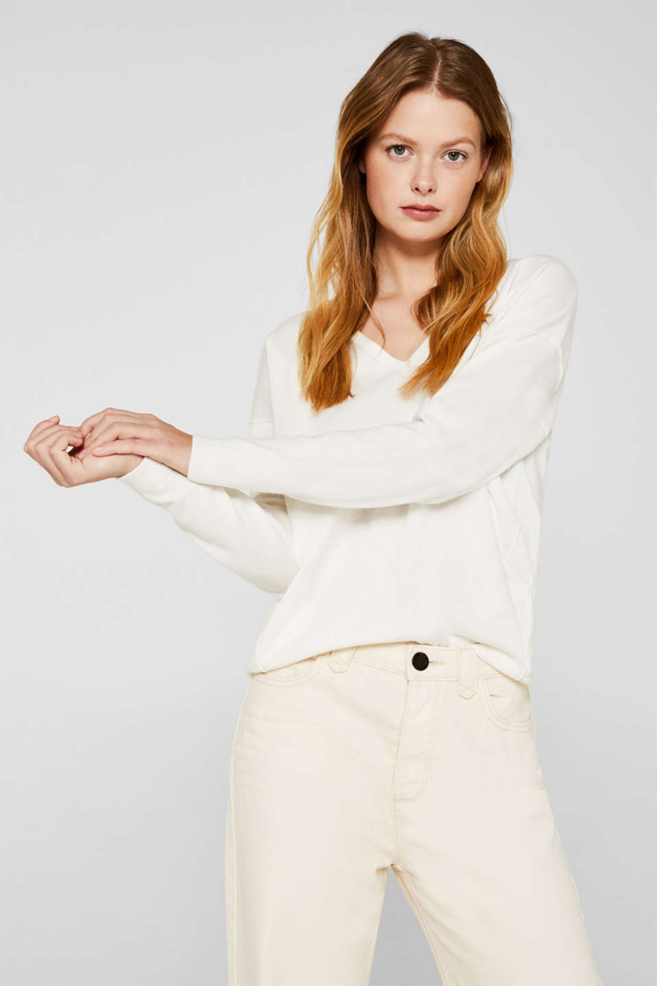 V-neck jumper, organic cotton, OFF WHITE, detail image number 5