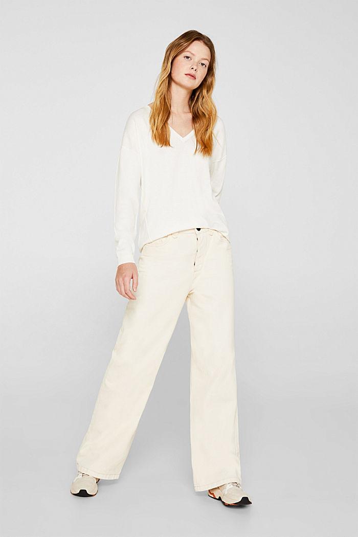 V-neck jumper, organic cotton, OFF WHITE, detail image number 1
