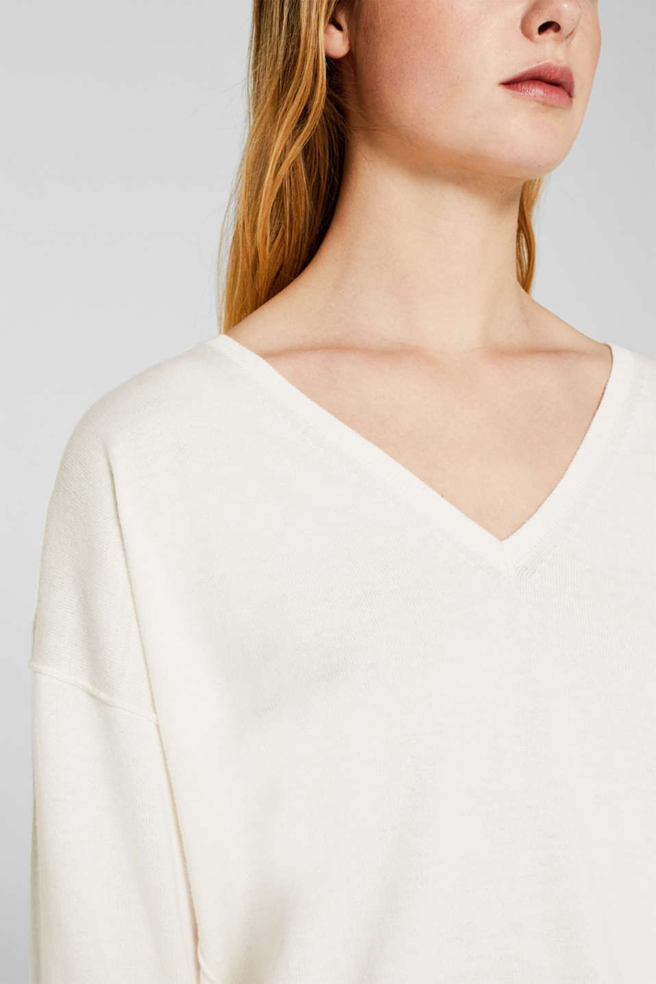 V-neck jumper, organic cotton, OFF WHITE, detail image number 2