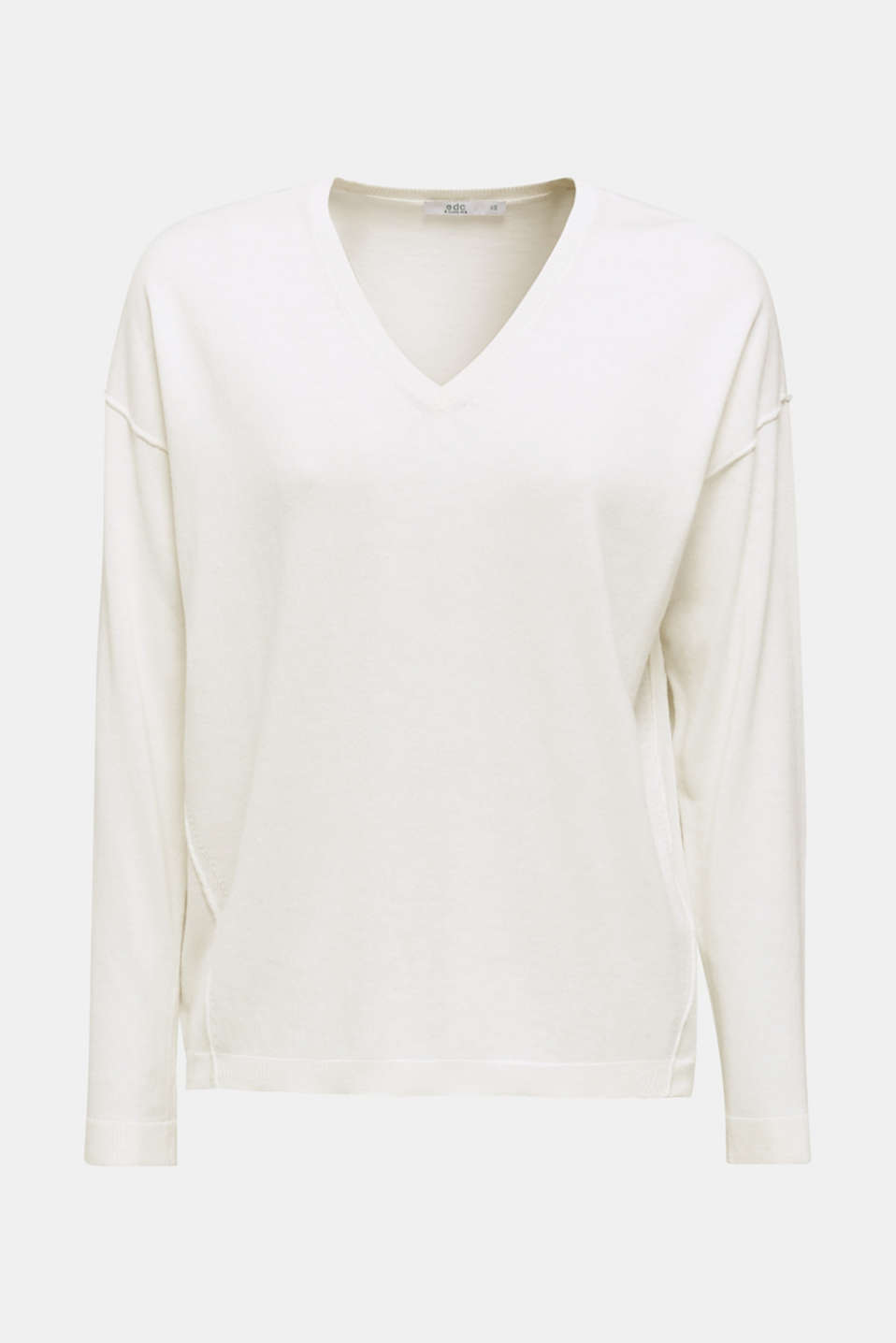 V-neck jumper, organic cotton, OFF WHITE, detail image number 6